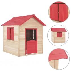 stradeXL Domek do zabawy dla dzieci, drewno jodłowe, czerwony