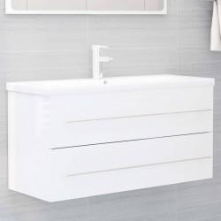 stradeXL Szafka pod umywalkę, biała, wysoki połysk, 100x38,5x48 cm