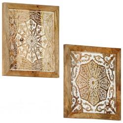 stradeXL Ręcznie rzeźbione panele ścienne, 2 szt., mango, 40x40x1,5 cm