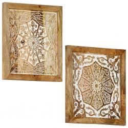 stradeXL Ręcznie rzeźbione panele ścienne, 2 szt., mango, 60x60x2,5 cm