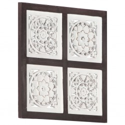 stradeXL Ręcznie rzeźbiony panel ścienny, MDF, 40x40x1,5 cm, brąz i biel