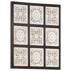 stradeXL Ręcznie rzeźbiony panel ścienny, MDF, 60x60x1,5 cm, brąz i biel