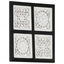 stradeXL Ręcznie rzeźbiony panel ścienny, MDF, 40x40x1,5cm, czarno-biały