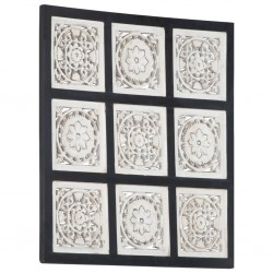 stradeXL Ręcznie rzeźbiony panel ścienny, MDF, 60x60x1,5cm, czarno-biały