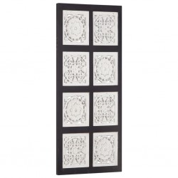 stradeXL Ręcznie rzeźbiony panel ścienny, MDF, 40x80x1,5cm, czarno-biały