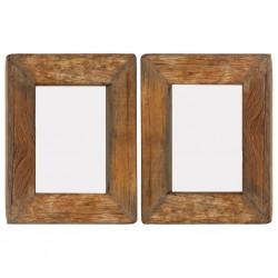 stradeXL Ramki na zdjęcia, 2 szt., 23x28 cm, drewno z odzysku i szkło