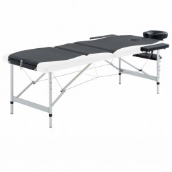 stradeXL 3-strefowy, składany stół do masażu, aluminium, czarno-biały