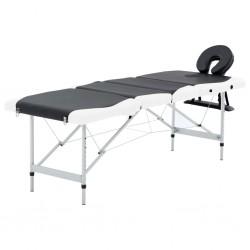 stradeXL 4-strefowy, składany stół do masażu, aluminium, czarno-biały
