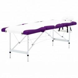 stradeXL 4-strefowy, składany stół do masażu, aluminium, biało-fioletowy