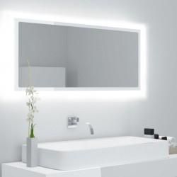 stradeXL Lustro łazienkowe z LED, białe na wysoki połysk, 100x8,5x37 cm