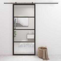 stradeXL Drzwi przesuwne, aluminium i szkło ESG, 90x205 cm, czarne