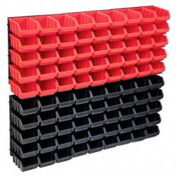 stradeXL 96-częściowy organizer na panelach ściennych, czerwono-czarny