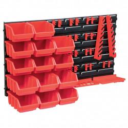 stradeXL 39-częściowy organizer na panelach ściennych, czerwono-czarny