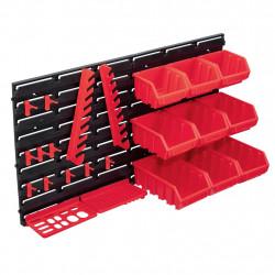 stradeXL 34-częściowy organizer na panelach ściennych, czerwono-czarny