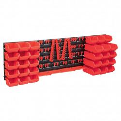stradeXL 80-częściowy organizer na panelach ściennych, czerwono-czarny
