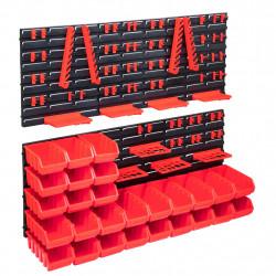stradeXL 103-częściowy organizer na panelach ściennych, czerwono-czarny