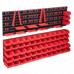 stradeXL 141-częściowy organizer na panelach ściennych, czerwono-czarny