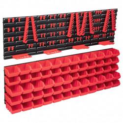 stradeXL 136-częściowy organizer na panelach ściennych, czerwono-czarny