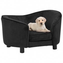 stradeXL Sofa dla psa, czarna, 69x49x40 cm, pluszowa