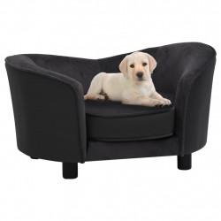 stradeXL Sofa dla psa, czarna, 69x49x40 cm, plusz i sztuczna skóra