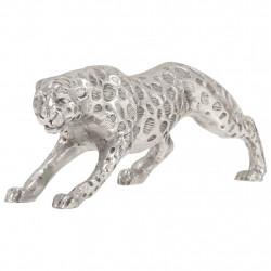 stradeXL Rzeźba jaguara, lite aluminium, 50 x 10 x 14 cm, srebrna