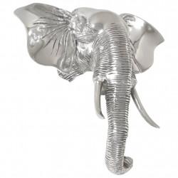 stradeXL Rzeźba głowy słonia, lite aluminium, 38 x 19 x 36 cm, srebrna