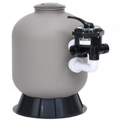 stradeXL Piaskowy filtr basenowy, boczny montaż, zawór 6-drożny, szary