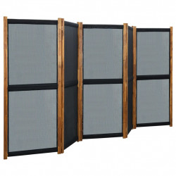 stradeXL Parawan 5-panelowy, czarny, 350 x 170 cm