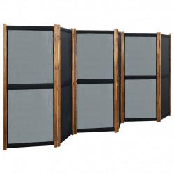 stradeXL Parawan 6-panelowy, czarny, 420 x 170 cm