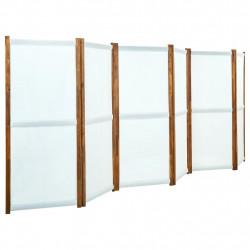 stradeXL Parawan 6-panelowy, kremowy, 420 x 170 cm