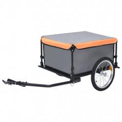 stradeXL Transportowa przyczepa rowerowa, szaro-pomarańczowa, 65 kg