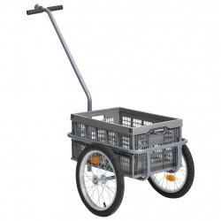 stradeXL Transportowa przyczepa rowerowa, skrzynka 50 L, szara, 150 kg