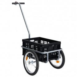 stradeXL Transportowa przyczepa rowerowa, skrzynka 50 L, czarna, 150 kg