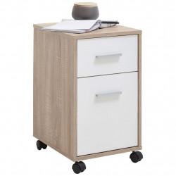 FMD Mobilna szafka z szufladą, dąb i biel