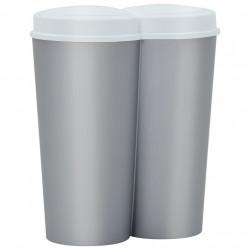 stradeXL Dwukomorowy kosz na śmieci, srebrno-biały, 50 L