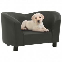 stradeXL Sofa dla psa, ciemnoszara, 67x41x39 cm, sztuczna skóra