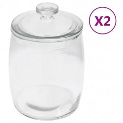 stradeXL Szklane słoje z pokrywką, 2 szt., 2000 ml