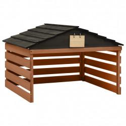 stradeXL Garaż dla kosiarki robotycznej, czarno-brązowy, 78x74x54 cm