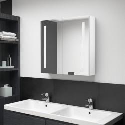 stradeXL Szafka łazienkowa z lustrem i LED, biel z połyskiem 62x14x60 cm